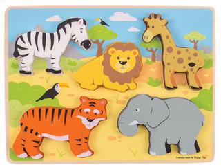BigJigs Chunky Lift out Puzzle—Safari