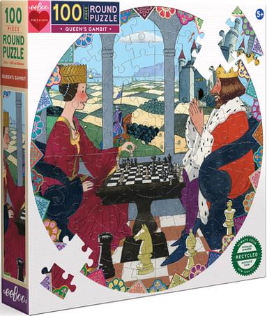 eeBoo Round 100-Piece Puzzles: Queen's Gambit & International Women's Day