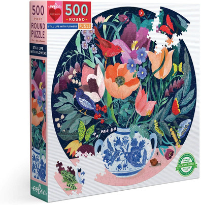 eeBoo Birds and Flowers Round Puzzles 500 Pieces
