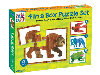 Mudpuppy World of Eric Carle, Brown Bear 4 in A Box Puzzle Set