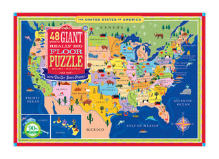 eeBoo 48 Piece USA Map Giant Floor Puzzle
