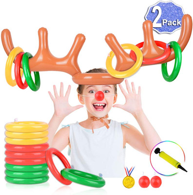 2 Set Inflatable Reindeer Antler Game