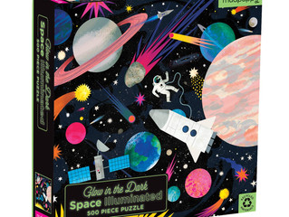 Mudpuppy Space Illuminated 500-Piece Glow in the Dark Puzzle, Family Puzzle