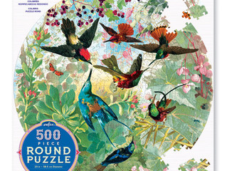 eeBoo Hummingbirds 500-Piece Round Puzzle