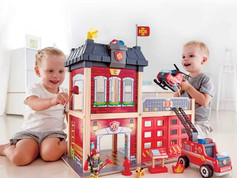 Hape Station Fire Truck and Helicopter-Firehouse Playset