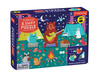 Mudpuppy Campfire Friends & Cosmic Fruit Scratch and Sniff Puzzles 60 Pieces