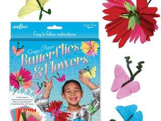 eeBoo Crepe Paper Butterflies and Flowers Kit