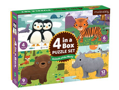 Mudpuppy Animals of the World Four-in-a-Box Puzzle Set