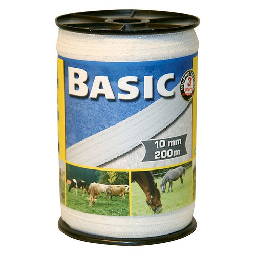 Basic Classe-Weideband, 200m, 10mm, weiß, 4x0,16 Niro