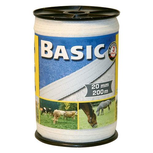 Basic Classe-Weideband, 200m, 20mm, weiß, 4x0,16 Niro