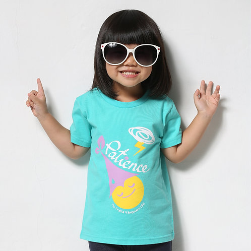 """童裝T恤""""Patience""""湖水藍"""