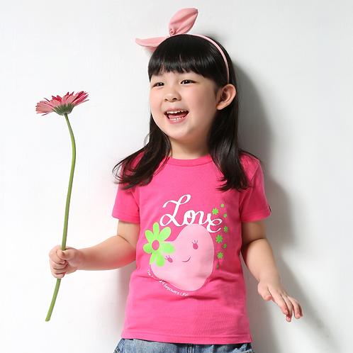 """童裝T恤""""Love""""桃紅"""