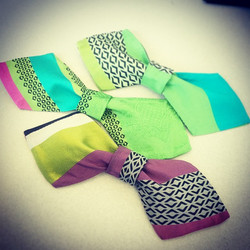 Facebook - Experimenting with reclaimed fabric! Grab these fun prints  #bowties