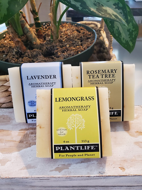PlantLife pre pack of 3 soap bars with bonus scrub gloves