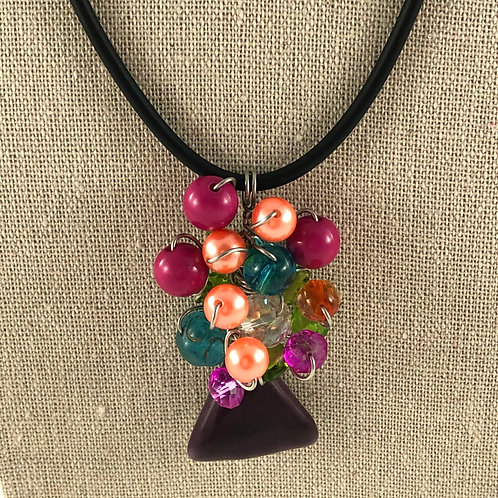 Flower Vase Necklace - Multi w/ Reds and Peaches