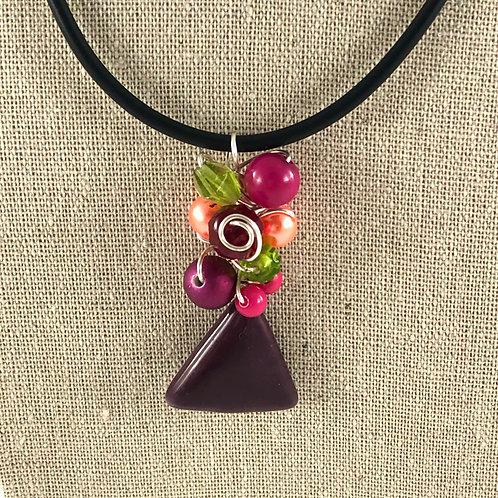 Flower Vase Necklace - Multi w/Swirl