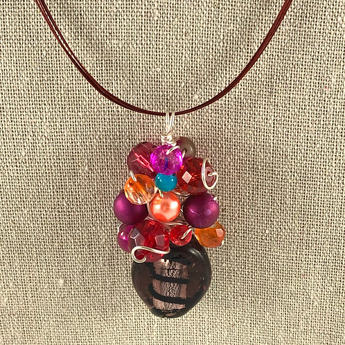 Flower Vase Necklace - Multi w/Striped Vase