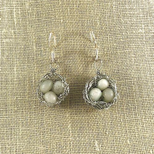 Robin's Eggs - Bird Nest Earrings