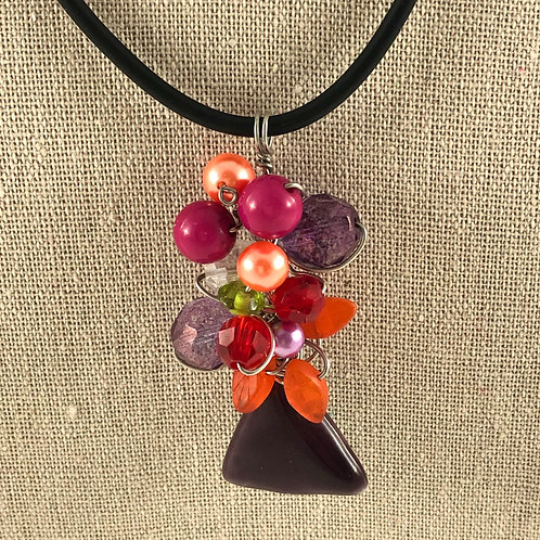 Flower Vase Necklace - Multi w/Orange Leaves