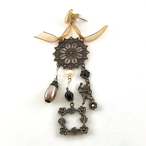 Cherub Two - Assemblage Art Push Pin