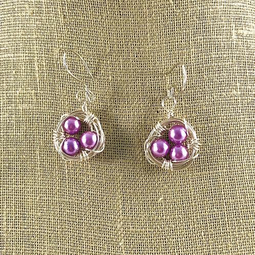 Lavender Eggs - Bird Nest Earrings