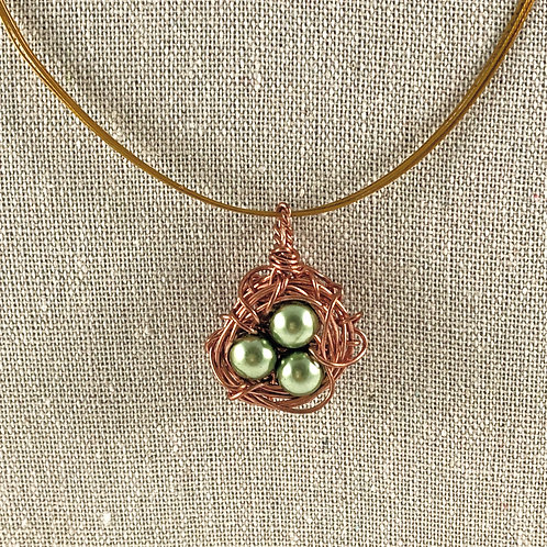 Green Egg - Birds Nest Necklace