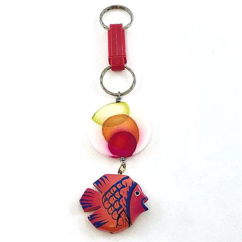 One Fish, Red Fish Fab Key Fob