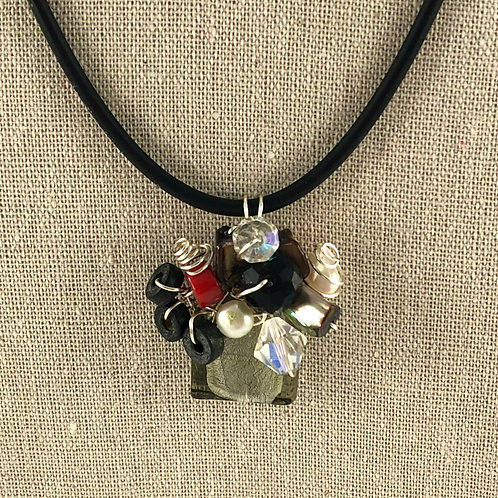 Flower Vase Necklace - Black Abstract