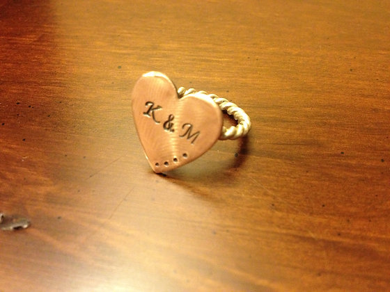 Large Copper and Sterling SIlver Heart RIng