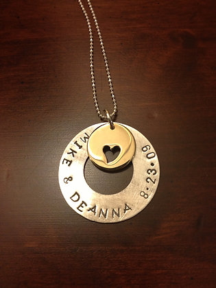Silver and Bronze Heart Charm Necklace