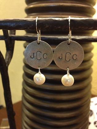Sterrling Silver Monogrammed Pearl Earrings