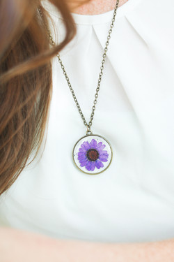 Purple Chrysanthemum Necklace