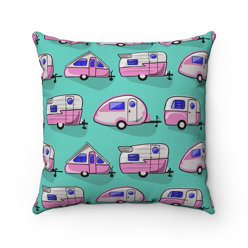 Pink Little Campers Spun Polyester Square Pillow