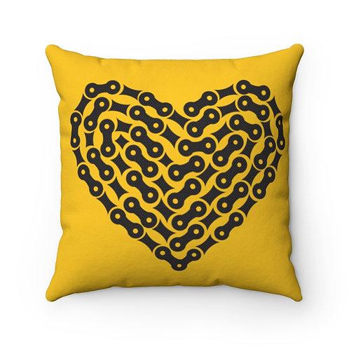 Bike Chain Heart Spun Polyester Square Yellow Pillow