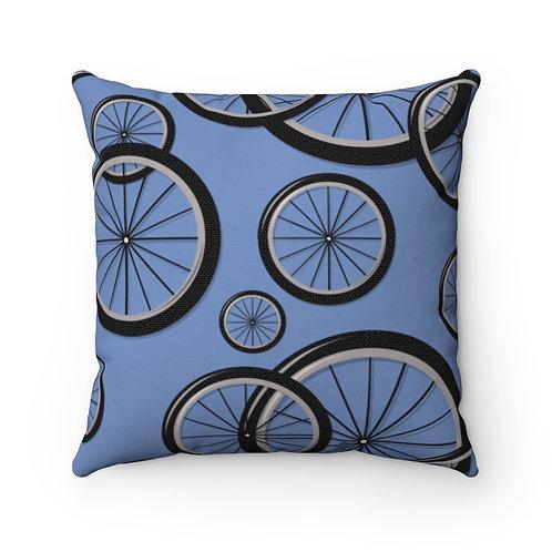 Blue Bike Wheels Spun Polyester Square Pillow