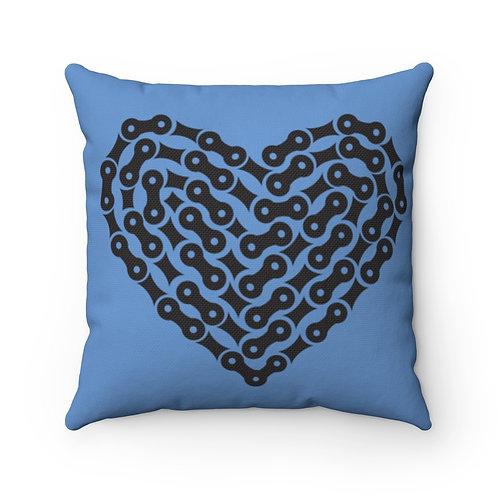 Bike Chain Heart Spun Polyester Square Blue Pillow