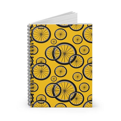 Yellow Bike Wheels Spiral Notebook - Ruled Line