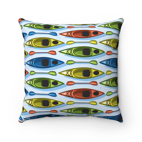 Kayaks Spun Polyester Square Pillow