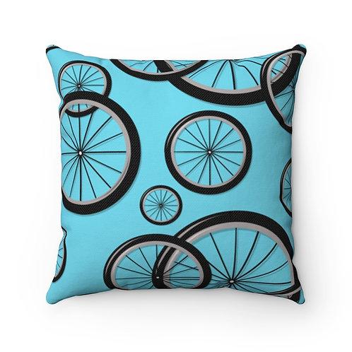Turquoise Bike Wheels Spun Polyester Square Pillow
