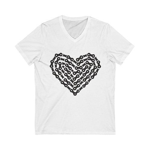 Bike Chain Heart Unisex Jersey Short Sleeve V-Neck Tee