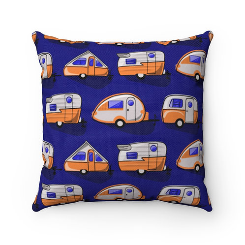 Orange Little Campers Spun Polyester Square Pillow