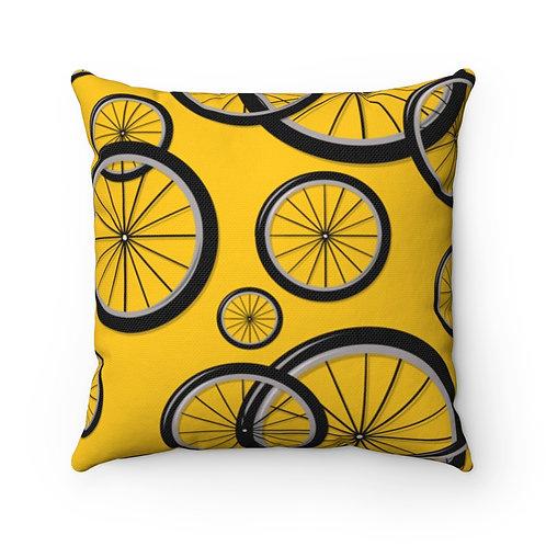Yellow Bike Wheels Spun Polyester Square Pillow
