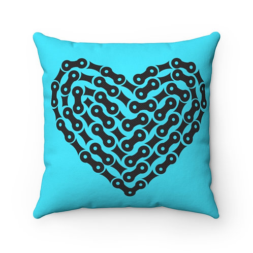 Bike Chain Heart Spun Polyester Square Turquoise Pillow