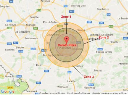 zones de livraison Carolo Pizza