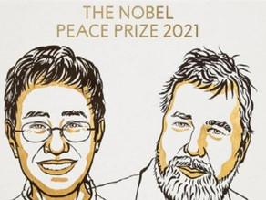 فوز صحفييْن بجائزة نوبل للسلام  لدورهما في الدفاع وكفاحهما الشجاع من أجل حرية التعبير