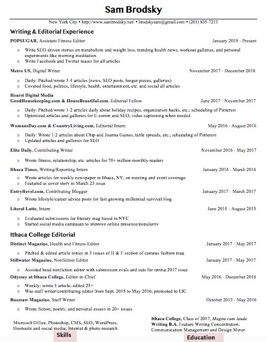 Editorial Resume