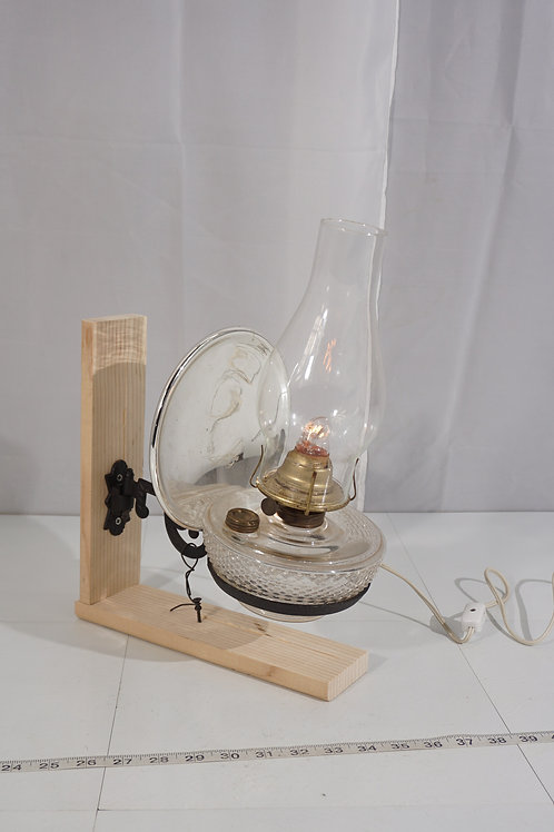 Oil Lamp Sconce With Mercury Glass Reflector