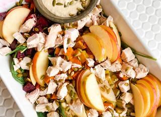 Autumn Harvest Chicken Salad with Maple Mustard Tahini Dressing