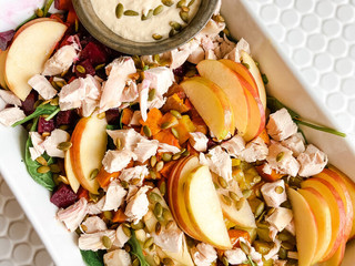 Autumn Harvest Chicken Salad with Maple Mustard Tahini Dressing