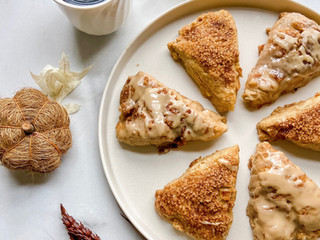 Apple Butter Scones with Espresso Maple Glaze